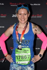 Jane Wells after the 2018 Las Vegas half marathon.