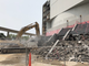 The stairs along the Detroit River come down as demolition continues on Joe Louis Arena in Detroit, Michigan on June 8, 2019.