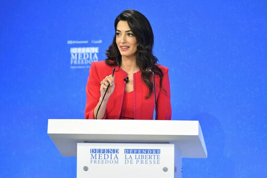 Amal Clooney spekas during the Global Conference for Media Freedom at The Printworks in London, Wednesday, July 10, 2019.
