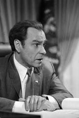 """In this Dec. 8, 1978, file photo, actor Rip Torn plays Richard Nixon during the filming of """"Blind Ambition,"""" an eight-hour film for television."""
