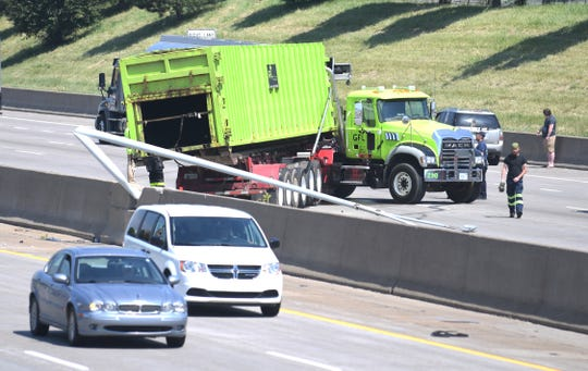 A  two-vehicle wreck on northbound I-75 near the Warren exit between a car and a GFL Environmental waste truck.