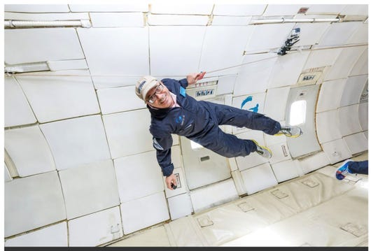 "As part of his research for ""One Giant Leap,"" author Charles Fishman experimented with zero gravity."
