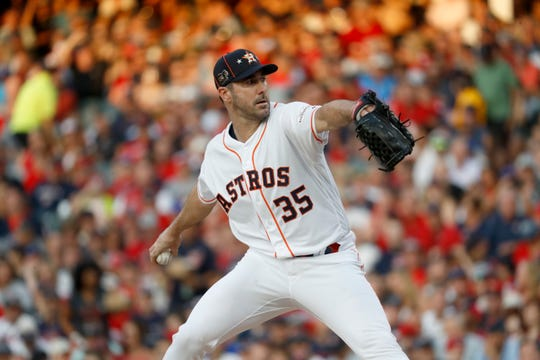 American League starting pitcher Justin Verlander, of the Houston Astros, throws during the first inning.