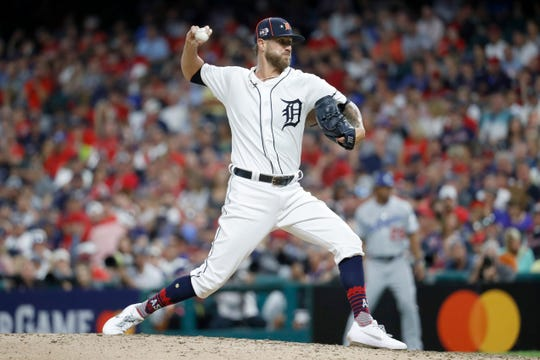 American League pitcher Shane Greene, of the Detroit Tigers, throws during the seventh inning of the MLB baseball All-Star Game against the National League, Tuesday, July 9, 2019, in Cleveland. (AP Photo/John Minchillo)