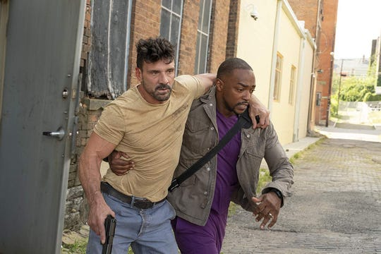 "Frank Grillo and Anthony Mackie in ""Point Blank."""