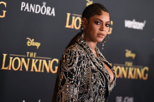 "Beyonce arrives at the world premiere of ""The Lion King"" on Tuesday, July 9, 2019, at the Dolby Theatre in Los Angeles."