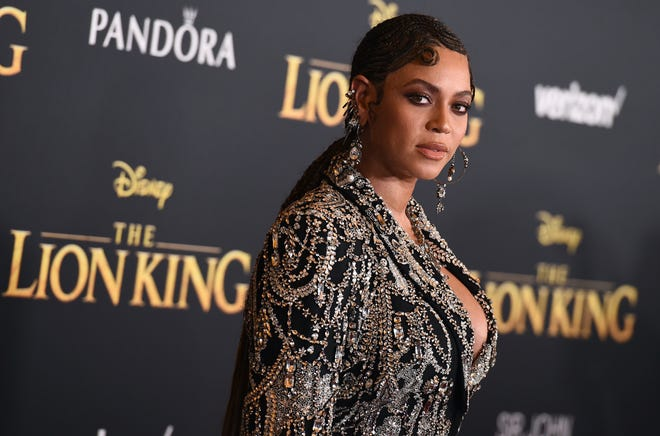 """Beyonce arrives at the world premiere of """"The Lion King"""" on Tuesday, July 9, 2019, at the Dolby Theatre in Los Angeles."""