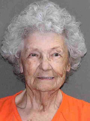 In this undated booking photo provided Wednesday, July 10, 2019, by the Leon County, Texas, Sheriff's Office is 84-year-old Norma Allbritton. Allbritton was arrested July 1 on a murder charge in the 1984 shooting death of her husband.