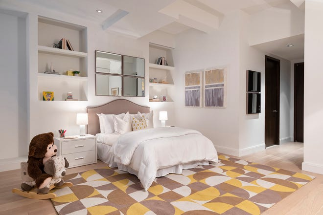 Muted tones help create a soothing yet inviting children's bedroom. (