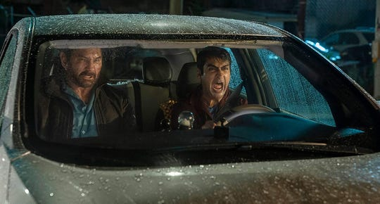 "Dave Bautista and Kumail Nanjiani in ""Stuber."""