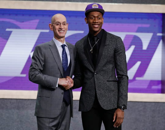 Virginia's De'Andre Hunter went No. 4 overall, taken by the Los Angeles Lakers. His rights had been traded twice, first to New Orleans as part of the Anthony Davis deal, then to Atlanta. But since neither of those trades could be closed before July 6, Hunter wore a Lakers cap on stage.
