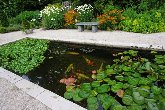 A fabulous Japanese koi pond surrounded with native and perennial plants was designed by landscape architect Jeff Klein as a modern interpretation of a formal English garden. Storm water management was an important concern in the design of this garden.