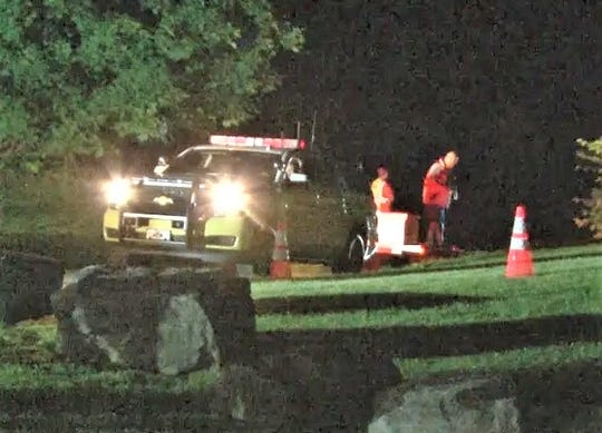Emergency responders take part in a rescue from the Chemung River late Tuesday night near Wellsburg.