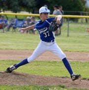 Mason Holloway pitches for Horseheads in a 5-2 loss to Corning-Painted Post in the District 6 Little League 10-12 year-old championship game July 9, 2019 in Elmira Heights.