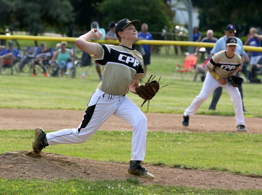 Spencer Castle pitches for Corning-Painted Post in a 5-2 win over Horseheads in the District 6 Little League 10-12 year-old championship game July 9, 2019 in Elmira Heights.
