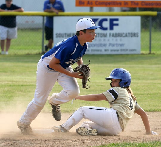 Kendall Curreri of Corning-Painted Post is safe at second as Brendan Clark of Horseheads makes the catch during Corning-Painted Post's  5-2 win in the District 6 Little League 10-12 year-old championship game July 9, 2019 in Elmira Heights.