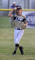 Corning-Painted Post center fielder Reilly Wells still has the ball after making a catch for the final out in a 5-2 win over Horseheads in the District 6 Little League 10-12 year-old championship game July 9, 2019 in Elmira Heights.