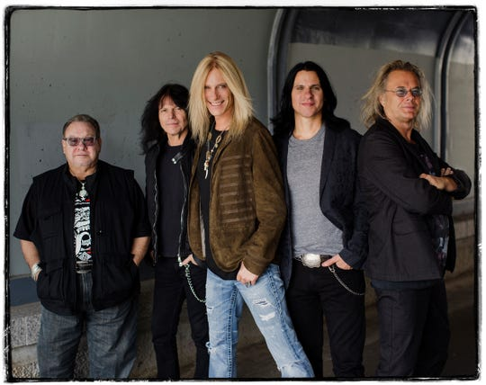 Pictuted, from left, are The Guess Who band members Garry Peterson, Rudy Sarzo, Derek Sharp, Will Evankovich and Leonard Shaw.