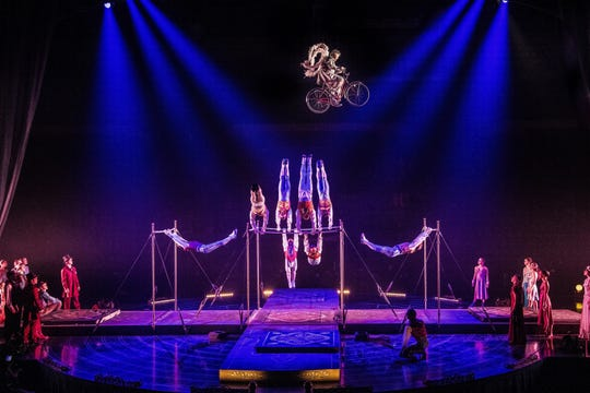 "The Tournik act closes ""Corteo"" with acrobats swinging on high bars shaped like a cube."