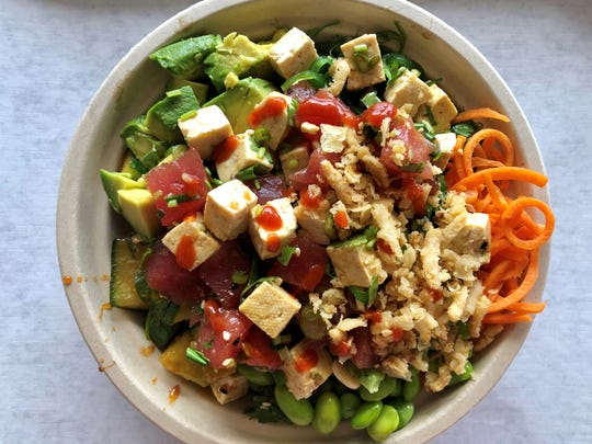 A make-your-own poke bowl with ahi and tofu from PokeBowl Cafe in south Fort Myers.
