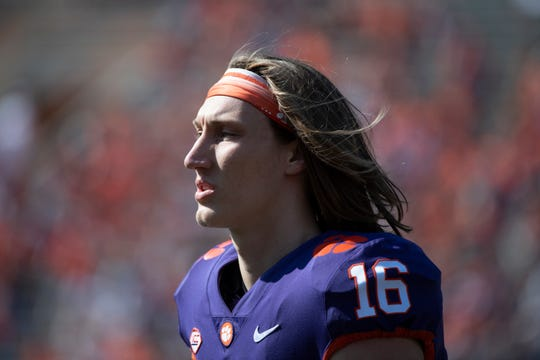 Clemson quarterback Trevor Lawrence (16) participates in the spring game at Memorial Stadium Saturday, April 6, 2019.