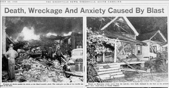 Newspaper clipping from The Greenville News on Nov. 20, 1946, showing explosion at Ideal Laundry on Buncombe Street that destroyed homes from blocks away.