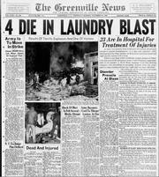Newspaper clipping from the front page of The Greenville News on Nov. 20, 1946, showing explosion at Ideal Laundry on Buncombe Street that destroyed homes from blocks away.