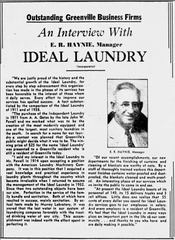 On March 9, 1938, a little over eight years before the explosion, Ideal Laundry Manager E.R. Haynie was featured in The Greenville News.