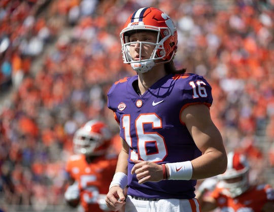 Clemson quarterback Trevor Lawrence (16) plays in the spring game at Memorial Stadium Saturday, April 6, 2019.