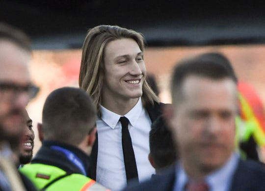 Clemson quarterback Trevor Lawrence arrives at San Jose International Airport in San Jose, California January 4, 2019.