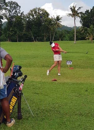 In this file photo, Kristen Oberiano, Guam's top contender follows through on a drive at the Pacific Games golf tournament in Samoa. in July 2019. Oberiano tied for sixth after the first day of competition, shooting a 76. She is expected to play at the 2019 Nissan Championship Sept. 1-2.
