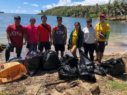 The Guam Serenity Lions Club hosted a clean up on July 7 at Bear Rock in Inarajan. This area has been accumulating great amounts of natural debris and different kinds of plastics on its shore. The number of plastic materials made it challenging to clean up entirely, but the Guam Serenity Lions Club will be back to clean it up completely. Pictured from left: Niel Tirador, Jacob Aquiningoc II, Tristan Magdalera, Richard Celeste, Katrina Macasaquit, Jennifer Ha, Manwai Nguyen.