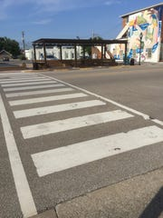 "This crosswalk on Second Street in downtown Henderson will soon be getting a makeover via a community art project paid for with private funding. Members of the public will do the actual painting in a ""paint by numbers"" fashion."