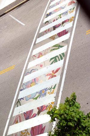 This is a mock-up of how the design for a crosswalk art project would look on the 200 block of Second Street in downtown Henderson. The design is by Henderson County resident Kathy Duncan.