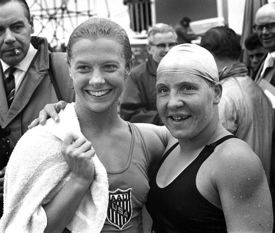 An image of a  1961 photo of Becky Collins, left, and Tineke Lagerberg.