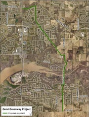 Path of the proposed Geist Greenway