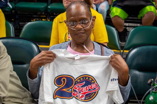 Sue Jenkins attended her first Indiana Fever game to support her great niece Jackie Young