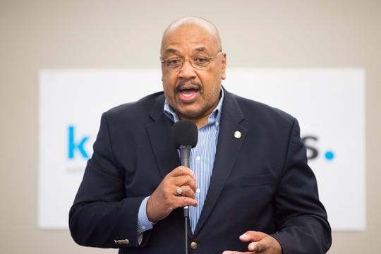 Hubert Smith is running for city council and speaks at a forum held by the League of Women Voters at the News Sentinel, Tuesday, July 9, 2019.