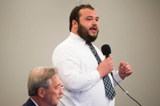 Charles Al-Bawi is running for city council and speaks at a forum held by the League of Women Voters at the News Sentinel, Tuesday, July 9, 2019.