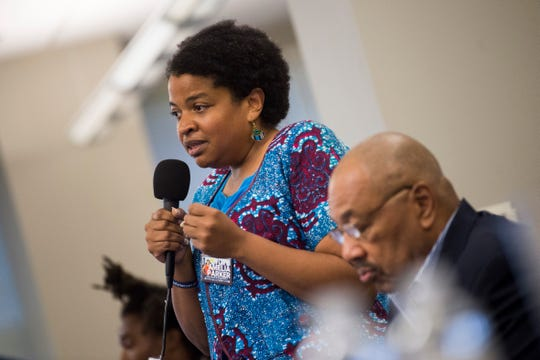 Amelia Parker is running for city council and speaks at a forum held by the League of Women Voters at the News Sentinel, Tuesday, July 9, 2019.