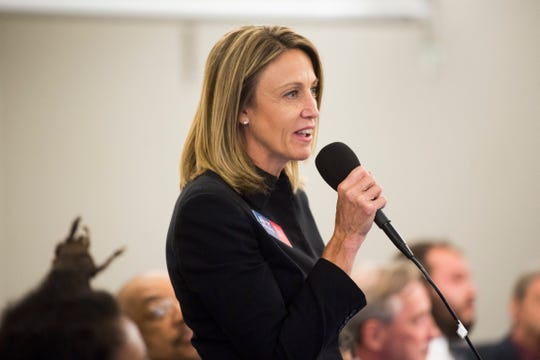 Amy Midis is running for city council and speaks at a forum held by the League of Women Voters at the News Sentinel, Tuesday, July 9, 2019.