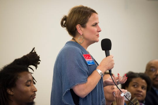 Janet Testerman is running for city council and speaks at a forum held by the League of Women Voters at the News Sentinel, Tuesday, July 9, 2019.