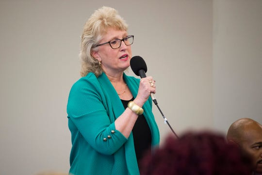 Lynn Fugate is running for city council and speaks at a forum held by the League of Women Voters at the News Sentinel, Tuesday, July 9, 2019.