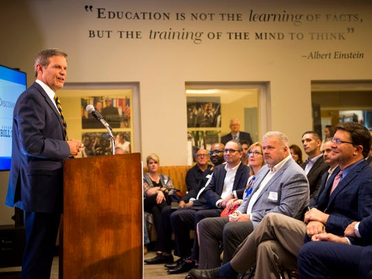 Gov. Bill Lee, left, speaks at an event announcing a partnership between the Discovery Channel and Pellissippi State Community College held in Knoxville on Wednesday, July 10, 2019.