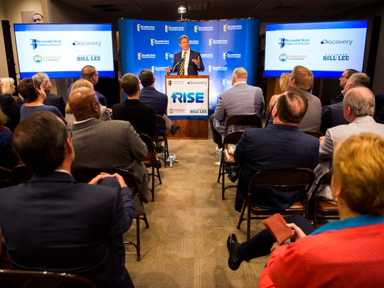 Gov. Bill Lee speaks at an event announcing a partnership between the Discovery Channel and Pellissippi State Community College held in Knoxville on Wednesday, July 10, 2019.