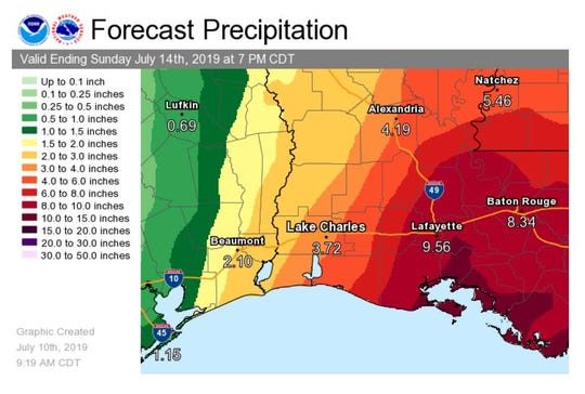 The National Weather Service is predicting a tropical disturbance, which will likely become a hurricane, will bring heavy rainfalls to Louisiana.