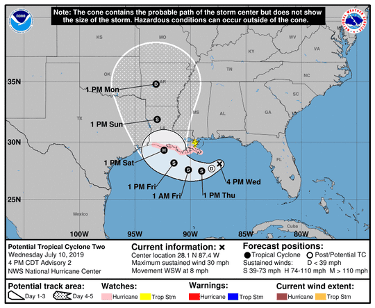 List of watch areas for the disturbance over the Gulf of Mexico.