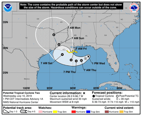 Potential Tropical Cyclone 2 was forecast to form into Hurricane Barry Wednesday.