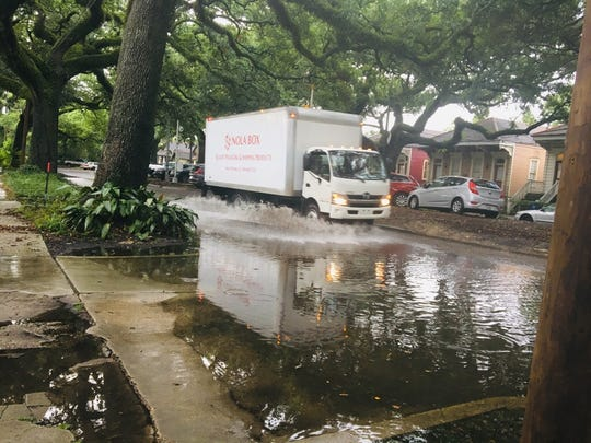 Heavy rainfall flooded New Orleans streets ahead of a tropical disturbance on July 10, 2019.