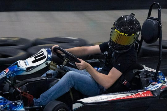 Ben Rhodes took to the track at Bluegrass Indoor Karting on Tuesday afternoon as a way of relieving stress before competing in the Quaker State 400 this weekend. 7/9/19